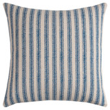 Beach Cottage Blue Ticking Stripe Pillow