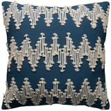 Navy Blue and Cream Chevron Macramé Pillow