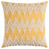 Sunshine and Cream Chevron Macramé Pillow