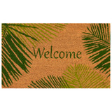 Welcome Door Mat with Green Palms -18 x 30