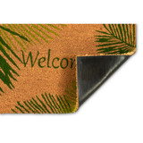 Welcome Door Mat with Green Palms -18 x 30 backing