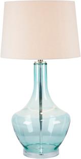 Easton Pale Blue Glass Table Lamp light on
