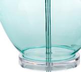 Easton Pale Blue Glass Table Lamp close up base
