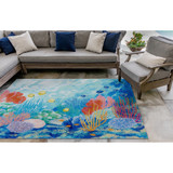 Seascape Ocean Colorful Floor Mat lanai view