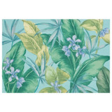 Aqua Tropical Leaves Floor Mat