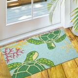 Floating Sea Turtles Accent Rug floor view