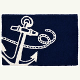 Navy Anchor Nautical Accent Rug