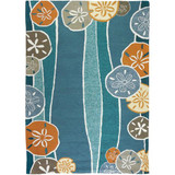 Blue Beachcomber Shells Coastal Rug