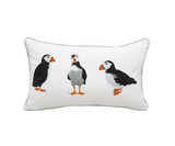 Puffin Party Embroidered Pillow