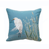 Waterside Snowy Egret Embroidered Pillow
