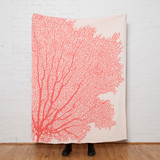Fan Coral Knit Throw in Cream and Coral Pink