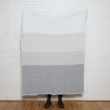 Poly Ombre Pebble and White Knit Throw