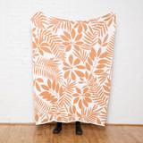 Flora Sunset Orange and White Eco-Knit Throw