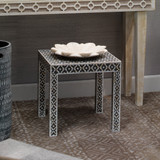 Evelyn Glam Side Table in Mother of Pearl room example