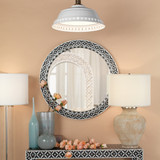 Evelyn Glam Mother of Pearl Round Mirror room 2
