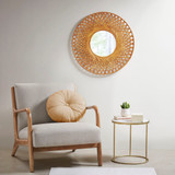 Reed Woven Round Bamboo Wall Mirror room example 2