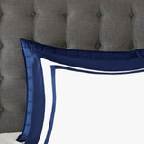 Admiralty Navy and White 8-Piece Comforter Set shams close up 3