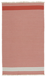 Morro Bay Red and Ivory Striped Rug