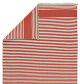 Morro Bay Red and Ivory Striped Rug reverse side