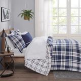 Sconset Navy Plaid 8-Piece Reversible Comforter Set navy side