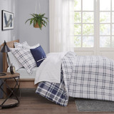 Sconset Navy Plaid 8-Piece Reversible Comforter Set white side