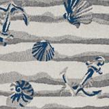 Ivory Seashore Waves Indoor-Outdoor Rug close up pattern