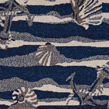 Navy Seashore Waves Indoor-Outdoor Rug  close up