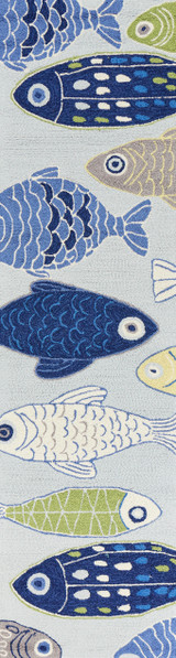 Sea of Fish Hand-Hooked Area Rug runner size