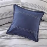 Newport 5-Piece Blue Striped Cotton Queen Comforter Set decorative pillow