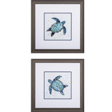 Bubbly Blue Turtle Prints- Set of Two