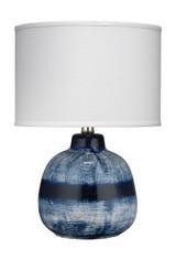Small Batik Table Lamp in Indigo Ceramic- White Shade