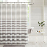 Beach Grey Ombre Striped Shower Curtain