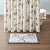 Bayside Shells Small Tufted Rug with shower curtain