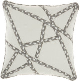 Woven Braided Geometric Square Pillow- Grey