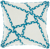 Woven Braided Geometric Square Pillow- Turquoise