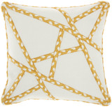 Woven Braided Geometric Square Pillow - Yellow