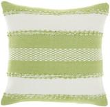 Woven Stripes Decorative Green Pillow - Square