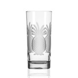Pineapple Etched Tall Cooler Glasses - Set of 4