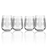 Pineapple Etched Stemless Tumblers-Set of 4