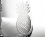 Pineapple Etched 12 oz. Wine Glasses - Set of 4 close up