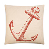 Adrift At Sea Nautical Luxury Pillow - Red