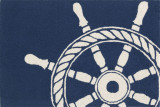 Nautical Ships Wheel Area Rug - Navy Blue