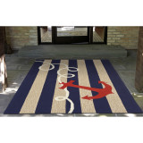 Anchor and Rope Navy Striped Area Rug