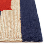 Anchor and Rope Navy Striped Area Rug edge