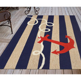 Anchor and Rope Navy Striped Area Rug deck