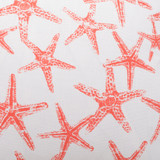 Seafriends Luxury Starfish Pillow in Coral.fabric close up