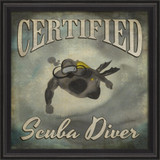 Certified Scuba Diver Beach Poster Wall Art black frame