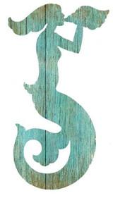 Aqua Mermaid Silhouette Art - Facing Left