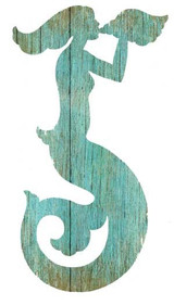 Aqua Mermaid Silhouette Art - Facing Left