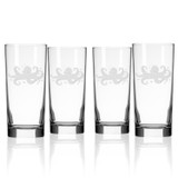 Octopus Etched Cooler Glasses - Set of 4